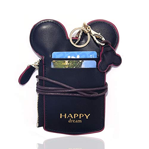 Neck Pouch,Cute Leather Lanyard ID Card Badge Holder With Coin Wallet Purse For School Students Women Kids Teens Girls Work Office