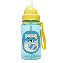Skip Hop Zoo Straw Bottle, 12 oz, Riggs Raccoon