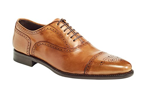 Anthony Veer Mens York Oxford Semi Brogue Leather Shoes In Goodyear Welted Construction (10.5D, Crust Tan) (Welted Brogue Shoe)
