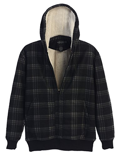 Plaid Hooded Flannel Jacket (Gioberti Mens Checkered Flannel Hoodie Jacket With Sherpa Lining, Charcoal/Hash B, XXL)