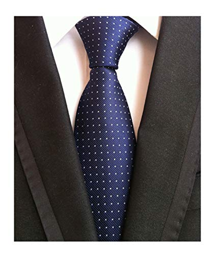 - Fashion Navy Blue Neckties Pin Dots Silk Tie Suit Fitness Dating Fashion For Men