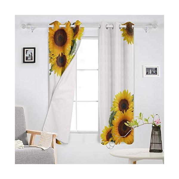 T H Home Simple Fresh Design Sunflower Curtain 104 X63 Inch