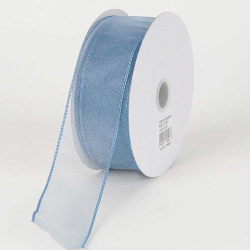 BBCrafts 2-1/2 inch x 25 Yards Thick Wire Edge Organza Ribbon Decoration Wedding Party (Smoke Blue)
