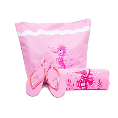 closure 3 Bags Bag x For Shopper 16 x Summer Towel PLUS cms Girls Beach zipped Women Set Canvas 38 Beach Flip Pink For Light 50 for PLUS Fairee Tote Seahorse By Flops Piece Ladies Airee Pool Towels The Features dPxTqII