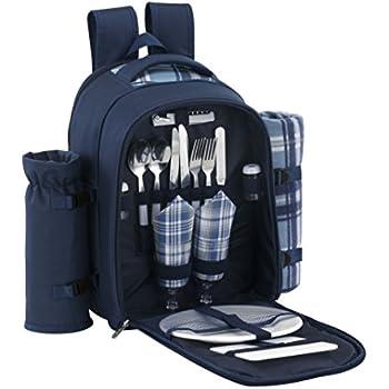 VonShef 2 Person Blue Picnic Backpack Hamper with Cooler Compartment includes Tableware & Fleece Blanket