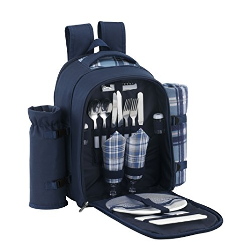 VonShef 2 Person Blue Picnic Backpack Hamper with Cooler Compartment includes Tableware & Fleece Blanket