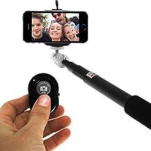 iGadgitz Black Extendable Telescopic Handheld Self Portrait Selfie Monopod Stick with Adjustable Phone Holder and Wrist Strap for HTC 10, One X9, A9, M7, M8, M9, Mini 2, Mini, X9