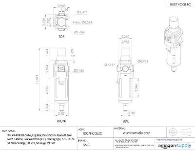 "SMC AW40-N06D-Z Filter/Regulator, Polycarbonate Bowl with Bowl Guard, 5 Micron, Float Auto Drain (N.O.), Relieving Type, 7.25 - 123 psi Set Pressure Range, 141 scfm, No Gauge, 3/4"" NPT"