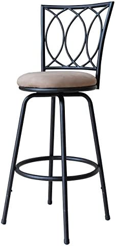 Roundhill Furniture Redico Adjustable Metal Barstool, Powder Coated Black Renewed