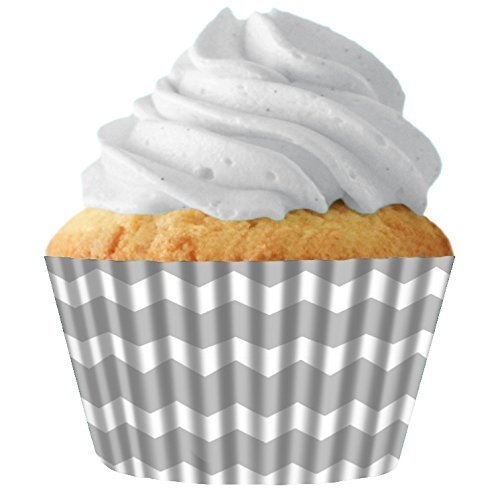 Silver Chevron Standard Cupcake Baking Cup Liners, 32 Count by Cupcake Creations by Siege
