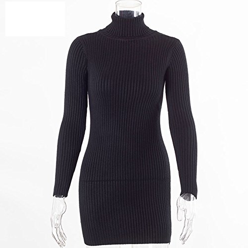 [Women Autumn Winter Sweater Dresses Slim Turtleneck Sexy Bodycon Solid Color Robe Knitted Dress Black One Size] (Plus Size Hooded Black Lace Up Robe)
