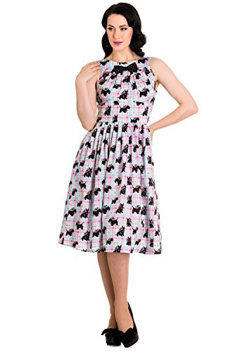 Hell Bunny 60's Mod Scottie Scottish Terrier Pastel Plaid Check Flare Dress (S)