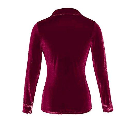 M Manche Longue laamei Shirt L Slim Bordeaux Bouton XL Chemisier en Femme Blouse Tops Velours Casual lgant S Chemise ggwqZ0Y
