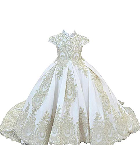Flower Beaded Formal Gown - gsunmmw Gold Lace Flower Girl Dresses for Wedding Beaded Pageant Ball Gown First Communion Dress for Girls GS098
