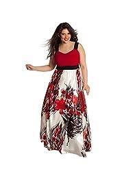 Willsa Plus Size Women Floral Printed Long Evening Party Beach Dress