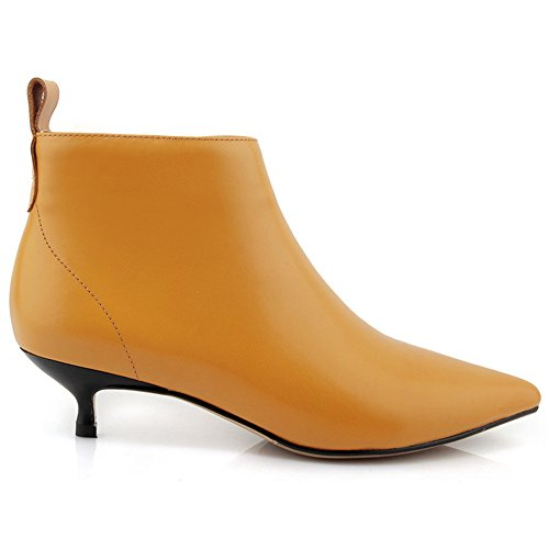 Nine Seven Genuine Leather Womens Pointed Toe Kitten Heel Sexy Handmade Dress Ankle Booties Yellow fPVQE