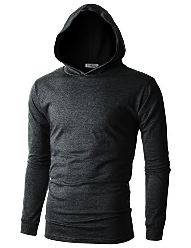 - OHOO Mens Slim Fit Long Sleeve Lightweight Echo Knit Hoodie with Kanga Pocket/DCF110-CHARCOAL-2XL