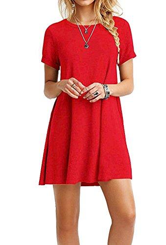 Flowy Sciolto Mini Donne Corte Altalena Maglietta Amstt Rosso Casuale Delle Maniche Abito Vestito 60xHwOxq