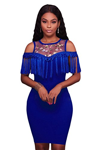 Damen Blau geblümt Mesh Joch Fransen Figurbetont Mini Kleid Club ...