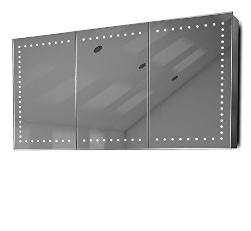 DIAMOND X COLLECTION Bluetooth RGB Audio Bathroom Mirror Cabinet with Demister, Shaver -