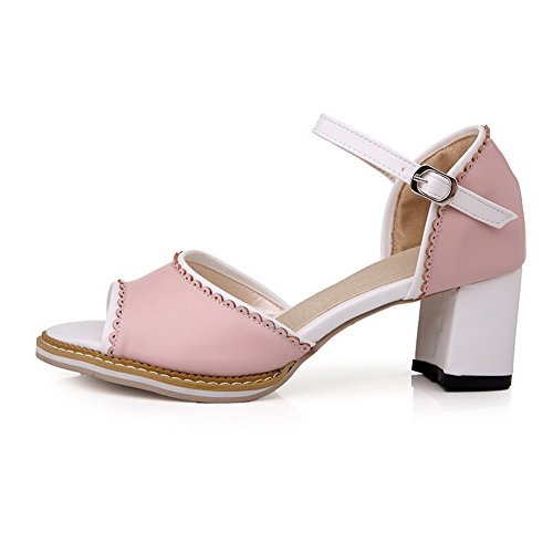 Sandals High Buckle Assorted Pink Toe Womens AmoonyFashion Open Color Heels nqOg8Twx