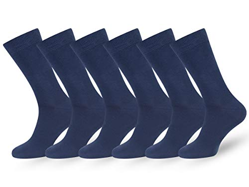 Lightweight Dress Socks - Easton Marlowe Men's Classic Cotton Solid Color Dress/Crew Socks - 6pk #3-9, Airmen Blue, Solid, navy blue hues Flat Knit - 43-46 EU shoe size