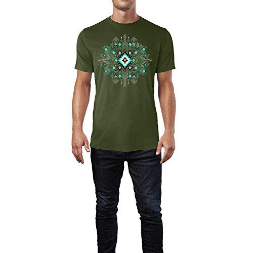 SINUS ART ® Tribal Vintage Muster Boho Muster Herren T-Shirts in Armee Grün Fun Shirt mit tollen Aufdruck