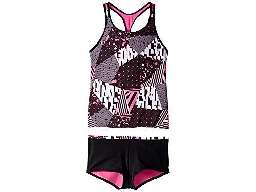 Nike Kids Girl's Mash Up Racerback Tankini and Kick Shorts (Little Kids/Big Kids) Black X-Large