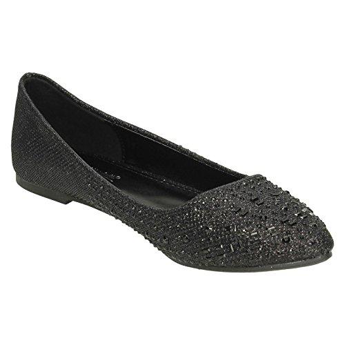 ballet de para Michelle F80185 Negro mujer Zapato Diamante Anne plano xRxwZ