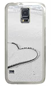 Heart In Beach Sand Custom Samsung Galaxy S5 Case and Cover - Polycarbonate - Transparent