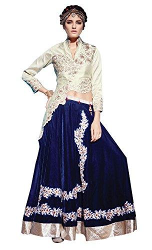 (INMONARCH Womens Marvelous Raw Silk Lehenga Style Anarkali Suit SLKI01005SC Stitched Cream)