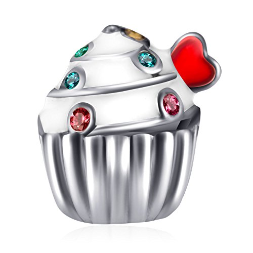 Heart Cupcake Charm Bead With Colorful Crystal 925 Sterling Silver Charms for Pandora Bracelets Birhday Gift for Women Child