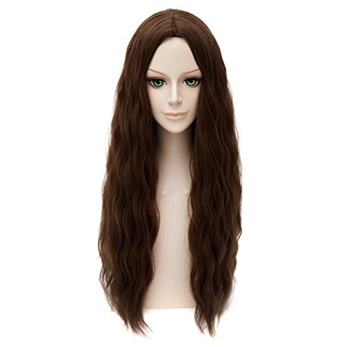 GOOACTION 65cm Avengers Scarlet Witch Wanda Maximoff Cosplay Wig Brown Wavy -