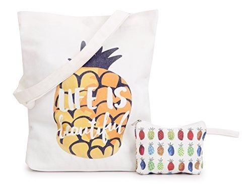 Minitowz Canvas Tote Bag For Women Bonus Zipper Makeup Bag Canvas Beach Shoulder Tote Bag Pineapple Art Deco Set Sofa