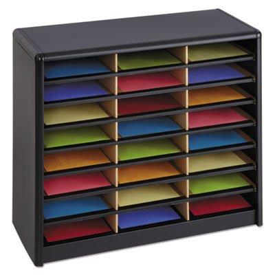 Steel/Fiberboard Literature Sorter, 24 Sections, 32 1/4 x 13 1/2 x 25 3/4, Black, Sold as 1 Each