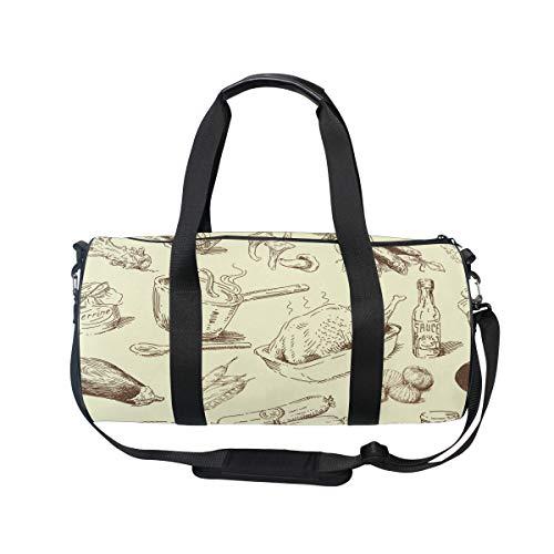 MUOOUM Turkey Sausage Cauliflower Sports Gym Bag Travel Duffel Bag for Women and Men Luggage Handbag