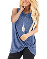 Barlver Summer Tank Tops for Womens Sleeveless Pleated Solid Color Loose Casual Flowy Tunic Tank Top