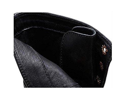 Donna Lychee linea Genuine pelle piattaforma Round Toe Martin stivali pizzo Up cintura fibbia scarpe Stivaletto alla moda , 38