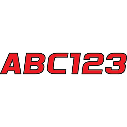 Hardline Products Series 700 Factory Matched 3-Inch Boat & PWC Registration Number Kit, Red/Black