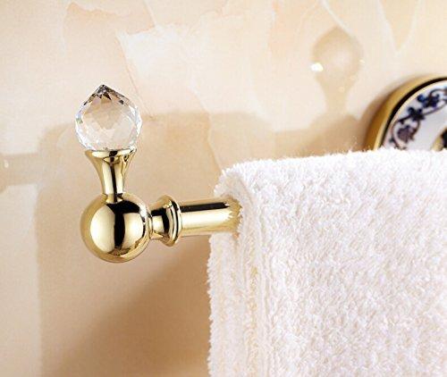 OWOFAN 14-Inch Brass Towel Holder Hanger Single Bar 3 Hooks Bathroom Storage Shelf Wall Mounted Luxury Gold WF-6319K by OWOFAN (Image #4)