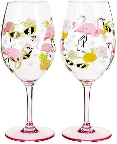 (Tropix 2-pc. Flamingo Wine Goblet Set One Size Pink/yellow/white )
