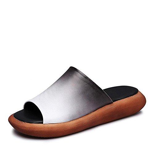 Heart&M trabajo hecho a mano de la mujer del anillo del dedo del cuero genuino del mollete del talón sandalias de los deslizadores Platfrom White