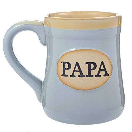 - Papa Coffee Mug Cup - Porcelain Grandpa Gift - Large for Men 18 Ounce - My Claim to Joy Love and Legacy - Gray