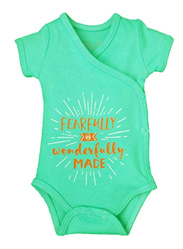 Boys or Girls Unisex Preemie Onesie-100% Organic Cotton-Fearfully and Wonderfully Made NICU Nurse Approved Clothing Mint Green