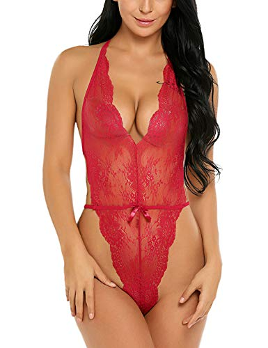 Avidlove Women Lingerie V Neck Lace Teddy Backless Sleepwear Pajamas Nightwear Red