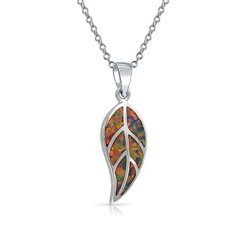 Bling Jewelry Synthetic Red Opal Inlay Leaf Pendant Rhodium Plated Necklace 18 Inches Synthetic Opal Necklace