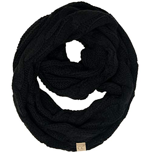 SK-6847-06 Kids Infinity Scarf - Solid Black (Infinity Scarf Knitted Black)