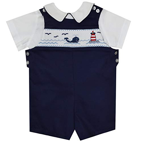- BETTI TERRELL Whales and Lt House Smocked Boys Shortall and Shirt SS Black