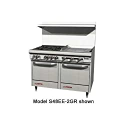 Southbend S48dc 2tr S Series 48 Gas Restaurant Range W 4 Open Burners 24 Right Thermostatic Griddle 1 Standard Oven 1 Cabinet Base