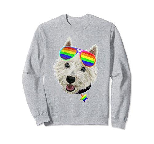 (Unisex Gay Pride Westie LGBT Dog Sunglasses Sweatshirt XL: Heather Grey)